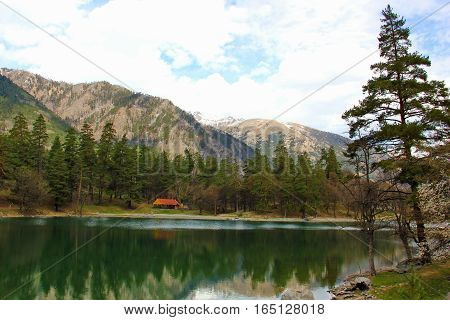 a clear water lake with a greenish color near the mountains, on the banks of pine trees,beautiful nature, the water reflects the mountains and trees