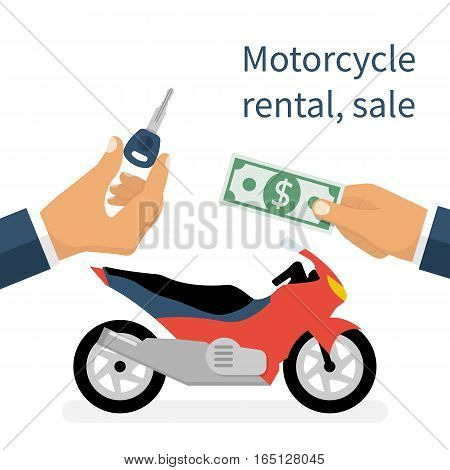Motorcycle sale, rental motorbike. Deal businessman salesman and client, money and key hold in hands. Two-wheeled vehicles isolated on white background. Vector illustration flat design.