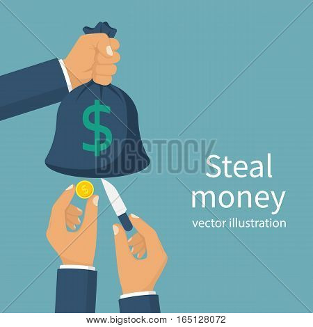 Steal money concept. Bag of money in hand, thief pickpocket with a knife in hand, cut bag and takes the money. Vector illustration flat design. Isolated on background. Criminal financial fraud.