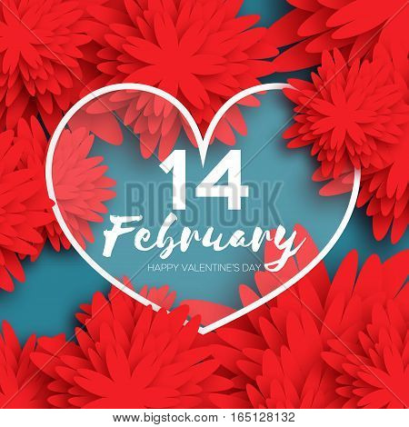 Happy Valentines Day Greeting card. Paper cut red flower and heart frame on blue background with space for text. Global Love romantic holiday. Vector floral weeding design illustration. 14 february