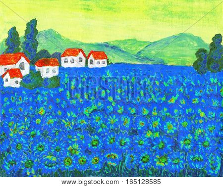 Hand painted picture, acrylic, summer landscape field with blue flowers.