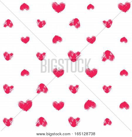 Seamless pattern with fingerprint hearts. Hand drawn textured shapes with rough edges. Pink different sizes thumbprints on white background. Endless trendy backdrop for fabric, wallpaper, wrapping