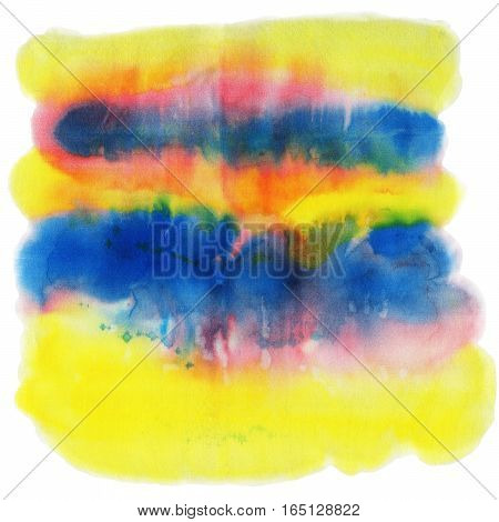 Yellow blue and red watercolor spot isolated on a white background.