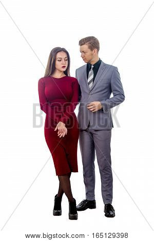 Image sad girl in red dress and resentful guy