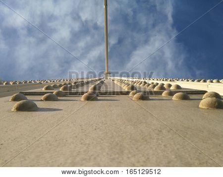 Elisabeth white bridge from above in Budapest