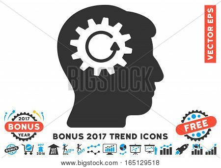 Blue And Gray Head Gear Rotation pictograph with bonus 2017 year trend clip art. Vector illustration style is flat iconic bicolor symbols white background.