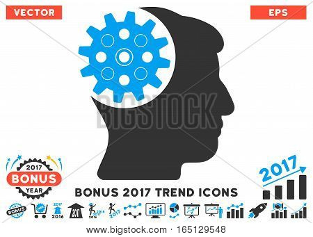Blue And Gray Head Gear pictograph with bonus 2017 year trend clip art. Vector illustration style is flat iconic bicolor symbols white background.