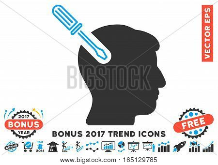 Blue And Gray Head Surgery Screwdriver pictograph with bonus 2017 year trend icon set. Vector illustration style is flat iconic bicolor symbols white background.