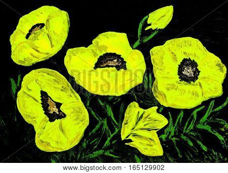 Hand painted picture, oil painting, yellow poppies