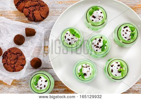 Mint Cheesecake Mousse Topped With Whipped Cream, Chocolate Chips