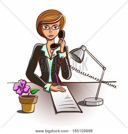 Hand drawn secretary answering telephone isolated on white background. Vector illustration
