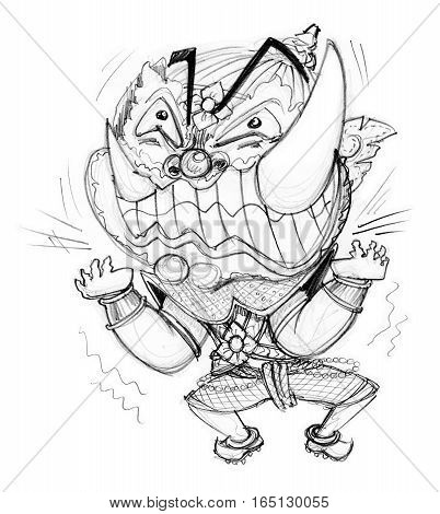 Thai Giant cartoon acting pressure frantic bulge Character design and freehand pencil sketch background isolate white background.