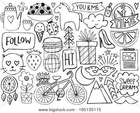 Sketch cute elements. Vector coloring page.  Illustration with bicycle and flower, animals and tea, gift and stars. Design for prints and cards.