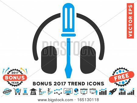 Blue And Gray Headphones Tuning Screwdriver pictogram with bonus 2017 year trend icon set. Vector illustration style is flat iconic bicolor symbols white background.