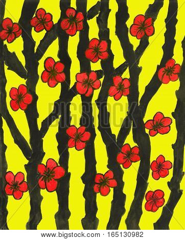 Hand painted picture, gouache, in traditions of ancient Japanese art, red flowers on black branches.
