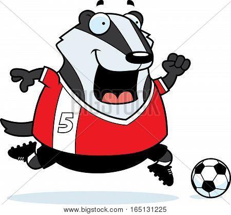 Cartoon Badger Soccer