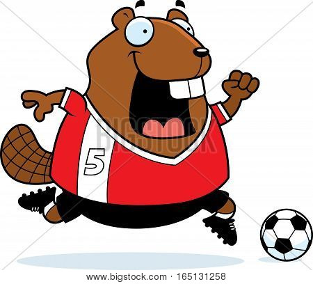 Cartoon Beaver Soccer