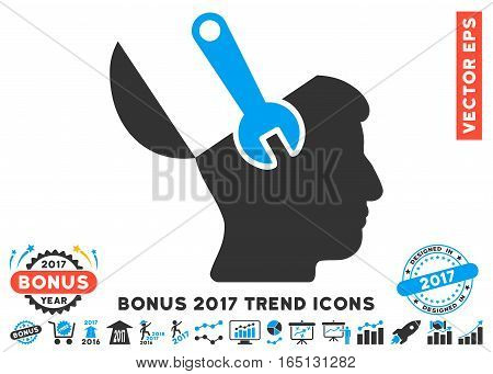 Blue And Gray Mind Wrench Surgery icon with bonus 2017 year trend pictograms. Vector illustration style is flat iconic bicolor symbols white background.