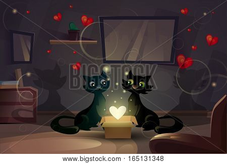 Valentine Day Gift Card Holiday Cat Couple Heart Shape Shining Love Flat Vector Illustration