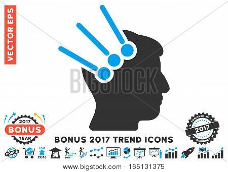 Blue And Gray Neural Interface Connectors icon with bonus 2017 year trend pictograph collection. Vector illustration style is flat iconic bicolor symbols white background.