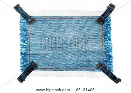 Frame tag made of denim fabric with four straps with space for your text isolated on white background