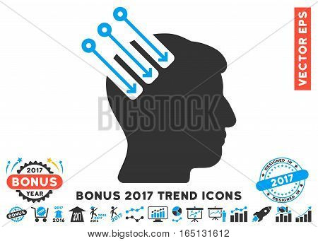 Blue And Gray Neuro Interface icon with bonus 2017 year trend clip art. Vector illustration style is flat iconic bicolor symbols white background.