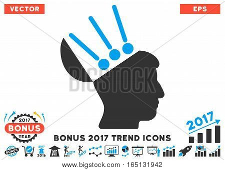 Blue And Gray Open Mind Interface pictograph with bonus 2017 trend symbols. Vector illustration style is flat iconic bicolor symbols white background.