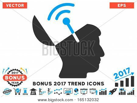 Blue And Gray Open Mind Radio Interface icon with bonus 2017 trend design elements. Vector illustration style is flat iconic bicolor symbols white background.