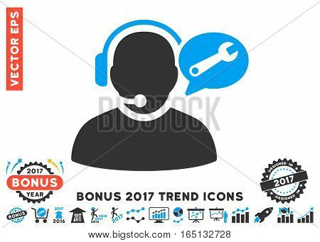 Blue And Gray Operator Service Message icon with bonus 2017 year trend icon set. Vector illustration style is flat iconic bicolor symbols white background.