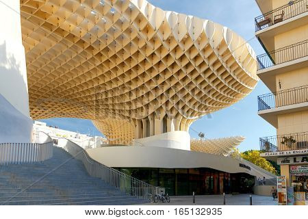 Seville, Spain - October 31, 2016: The design of the German architect Jurgen Mayer in the Plaza de la Encarnacion in the center of old Seville. It is one of the best tourist observation platforms in the city.