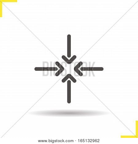 4 arrows aiming to the center icon. Drop shadow symbol. Direction arrows. Vector isolated illustration