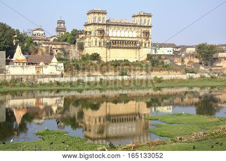 GONDAL, GUJARAT, INDIA: Reflections of the Naulakha Palace