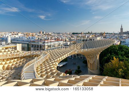 Seville Spain - October 31 2016: The design of the German architect Jurgen Mayer in the Plaza de la Encarnacion in the center of old Seville. It is one of the best tourist observation platforms.