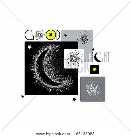 Vector illustration with dotted half moon, stars and squares isolated on white background. Astronomy symbols in dotwork or pointillism style. Creative design for Good night with crescent and stars.