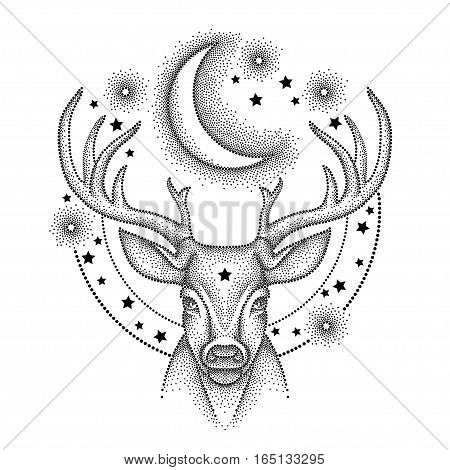 Vector illustration with dotted head deer with antlers, half moon and star in black isolated on white background. Astronomy symbols with crescent, stars and deer in dotwork style for tattoo design.