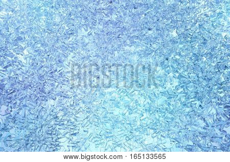Icy snowflake blue light abstract 3d illustration horizontal background