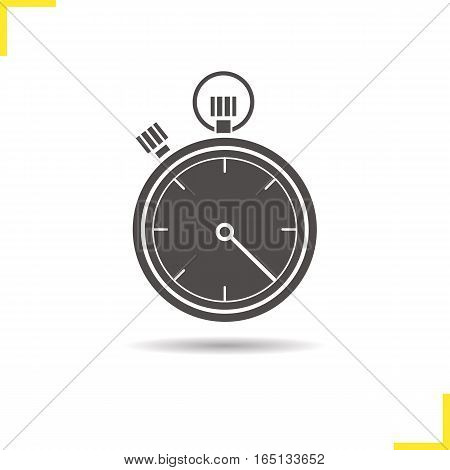 Stopwatch icon. Drop shadow silhouette symbol. Timer. Negative space. Vector isolated illustration