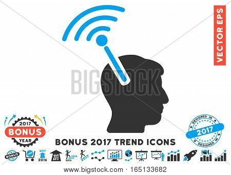 Blue And Gray Radio Neural Interface icon with bonus 2017 trend pictograph collection. Vector illustration style is flat iconic bicolor symbols white background.