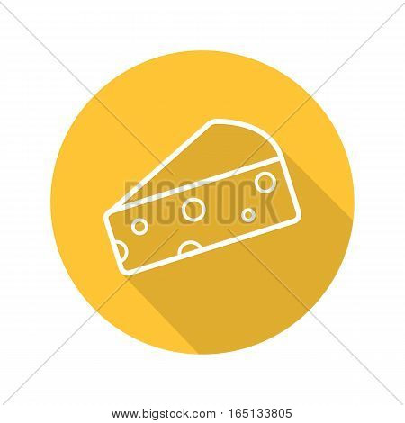 Cheese slice flat linear long shadow icon. Hard porous cheddar cheese. Vector line symbol