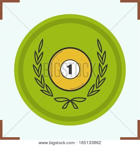 Billiard championship symbol color icon. Billiard ball in laurel wreath. Isolated vector illustration