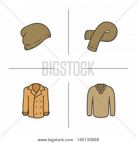 Winter clothes color icons set. Hat, scarf, pullover, coat. Sweater and jacket. Isolated vector illustrations
