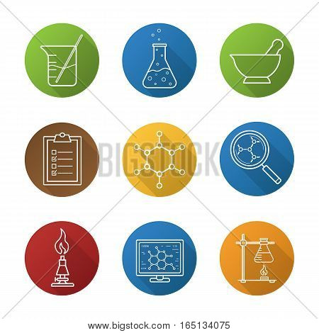 Chemical laboratory flat linear long shadow icons set. Chemical reaction, mortar and pestle, test checklist, beaker with rod, molecular structure, lab burner, ring stand, flask. Vector line symbols