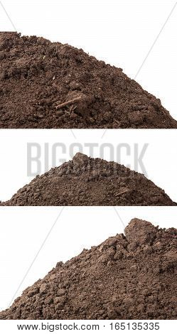 The Soil For Planting Isolated On White Background. Set