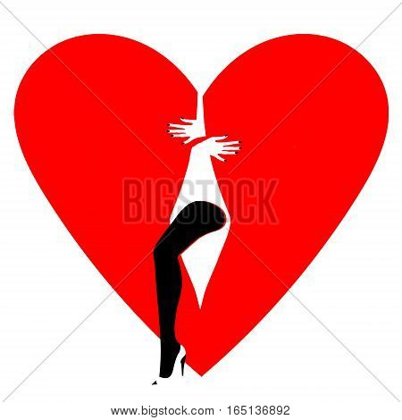 Beautiful female leg on a background of  broken heart. Vector illustration of heart Valentines Day