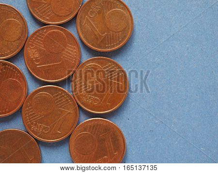 1 Cent Coin, European Union Background With Copy Space