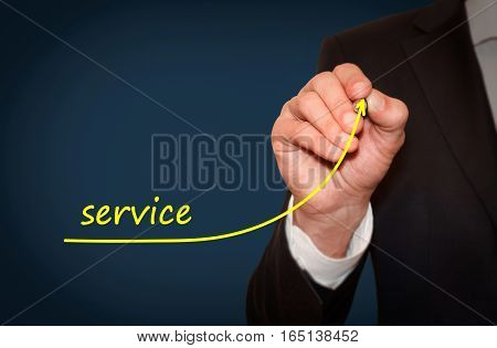 Businessman draw growing line symbolize growing Service level