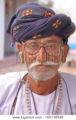 PALITANA, GUJARAT, INDIA - JANUARY 3, 2014: Portrait of a Rabari man