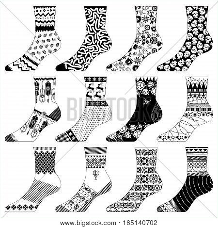 12 variously decorated socks. Black and white. Fabric design. Vector illustration