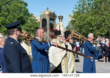 CORFU, GREECE - APRIL 30, 2016: The procession with the relics of the patron saint of Corfu, Saint Spyridon. Epitaph and litany of St. Spyridon.