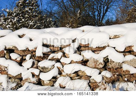 Detail of a sunlit old traditional stonewall at the swedish island Oland